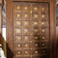 Indian Antique Teak Wood Entry Doors Brass Medallion Beautiful Carving Original Fish Carved Haveli Double Door Architecture Interior Design
