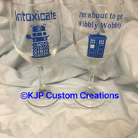 Dr. Who inspired set of 2 wine glasses, intoxicate, wibbly wobbly, tardis, dalek