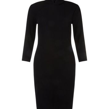 Black Funnel Neck Ribbed 3/4 Sleeve Dress