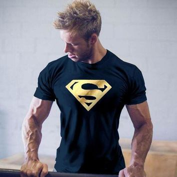 LMFLD1 Superman Superhero Printed Mens T-shirt Muscle Gym Fitness Muscle Training Clothing Bodybuilding Tops Workout T Shirts Plus Size