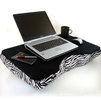 Jumbo Faux Leather Zebra Laptop Lap Desk by LapDeskLady on Etsy