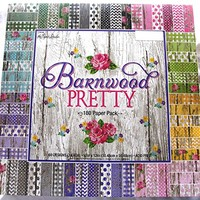 Barnwood Pretty 12×12 Scrapbooking Paper Pack 180 Sheets Chevron, Dots, Roses, Gingham, Country, Shabby, Farm Vintage, Old Wood | Scrapbook Galleria Online Shop