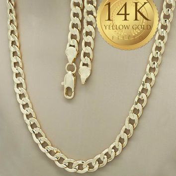 Gold Tone Men Pave Cuban Basic Necklace, by Folks Jewelry