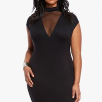 Plus Size Cyan Mock Neck Illusion Dress | Fashion To Figure