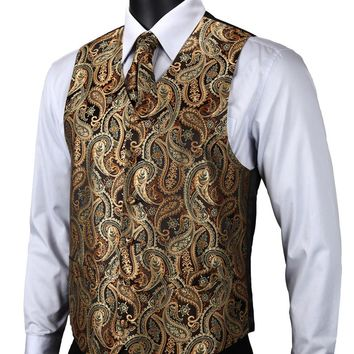 Gold Brown Paisley Top Design Wedding Men Silk Waistcoat Vest Pocket Square Cufflinks Cravat Set for Suit Tuxedo