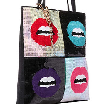 REBEL REBEL SEQUIN LIPS TOTE: Betsey Johnson