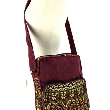 Aztec Messenger Bag - Tribal inspired, Ethnic Crossbody bag, Shoulder bag, Electronics Cases bag Perfect fit a tablet or iPad, Maroon Yellow
