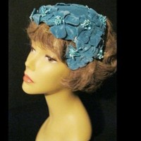 Vintage Womens Half Hat Fascinator with Deep Blue Flowers | madhatsandmore - Accessories on ArtFire