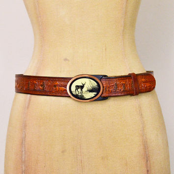 Vintage 70s Brown Leather Belt Tooled Leather Carved Deer Hunting Brass Belt Buckle 70s Belt 70s Hippie Belt Hippy Belt Boho Belt Women 29