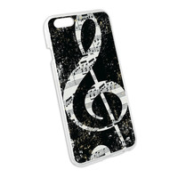 Vintage Treble Clef Music Black Snap On Hard Protective Case for Apple iPhone 6