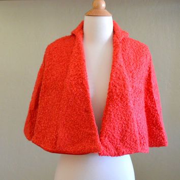 Vintage Coral Red Capelet, Faux Curly Lamb Hair Cape, 1950s - 1960s Era Boucle Shawl or Stole