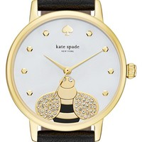 kate spade new york 'metro - bee' leather strap watch, 34mm | Nordstrom