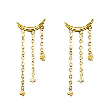 Unique Natural Real Diamond Moon Drop Earrings 14K 585 Yellow Gold