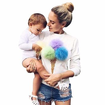 Plus Size Colorful Casual Ice Cream Plush Ball Patchwork Women Sweatshirt Long Sleeve Pullover Women Hoodies Truien Dame