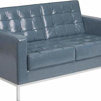 Gray Bonded Leather loveseat