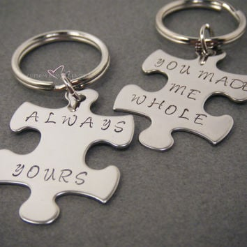 Puzzle Piece Keychains, Couples Keychains, Couples Gift, Made me whole always forever