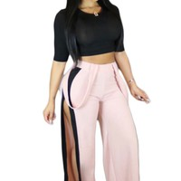 Pure Color Crop Top with Split Loose Pants Two Pieces Set