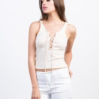 Knit Lace-Up Tank Top
