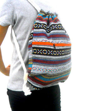 Drawstring Backpack Gym Bag Beach Bag Multi-color Backpack  Bag Handmade Everyday Bag Gift Bag Bag Hippie Bag Ethnic Bag
