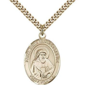 "Saint Bede The Venerable Medal For Men - Gold Filled Necklace On 24"" Chain - ... 617759105834"