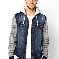 River Island Jacket with Jersey Hood & Sleeves at asos.com