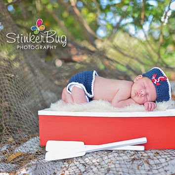 Baby Crochet Navy Sailor Hat with Anchor & Diaper Cover Set - Newborn, Baby, Nautical, Anchor, Photo Prop, Picture Prop