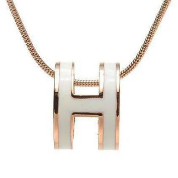 DCCKNQ2 Hermes Woman Fashion Logo Plated Necklace For Best Gift-2