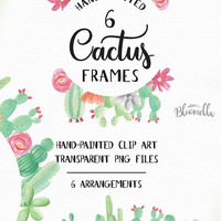 Cactus Frames 6 Watercolour Cacti Frame Succulent Clipart - Hand Painted Herbs Green Spring INSTANT DOWNLOAD PNGs Wild Flowers Digital Art