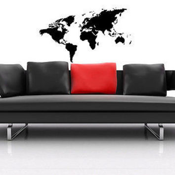 WORLD MAP GLOBE EARTH OUR PLANET WALL VINYL STICKER DECAL MURAL ART T022