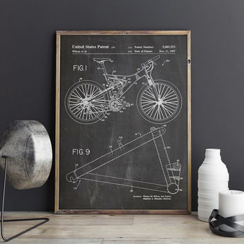 Bicycle Patent Print, Mountain Bike Poster, Mountain Bike Patent, Trek Bike Patent, Bicycle Wall Art, Bicycle Wall Print, INSTANT DOWNLOAD
