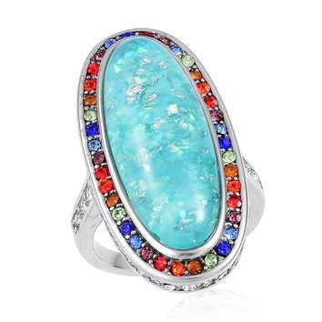Lab Created Opal with Multi Color Austrian Crystal Halo Stainless Steel Ring
