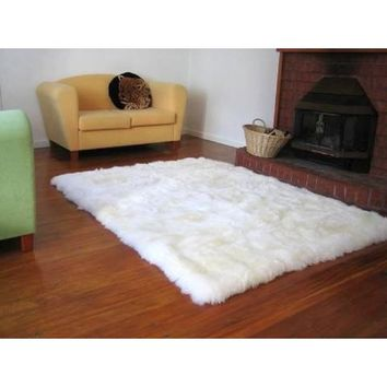 Faux Fur Sheepskin Shag Area Rug Ivory (3'5 x 5'5) | Overstock.com Shopping - The Best Deals on 3x5 - 4x6 Rugs