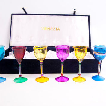 Vintage Venezia Colorful Hand Painted Stemmed Liquor Cordial Glasses Venetian Murano Art Glass Cordials Velvet Box Set of 6