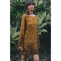 Yellow Starlight Bell Sleeve Shift Boho Floral Print Dress