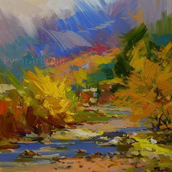 Autumn Abstract Landscape Print - Giclee Art Print of original oil landscape painting by Yuri Pysar