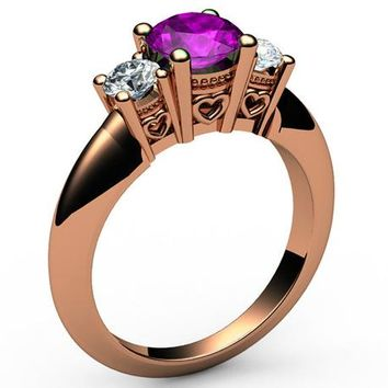 3 stone Filigree Amethyst Heart Engagement Ring 14K Rose gold Heart Milgrain Ring Promise Ring for Your Love One