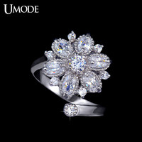 UMODE Size Adjustable Curve Band Anillos Mujer Aneis Design Flower CZ Finger Rings gift for Women UR0026