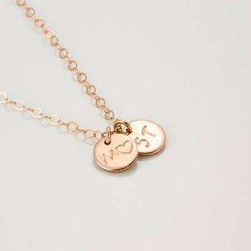 Rose Gold Disc Necklace • Rose Gold Personalized Name Necklace • Monogram Rose Gold Necklace • Rose Gold Bridesmaid Necklace | 0270-1-3NM