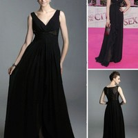 Chiffon A-line V-neck Floor-length Evening Dress inspired by Sex and the City co1023 - Sex and the City - Celebrity Dresses - Special Occasion Dresses  - ClothingTalks Online Shopping