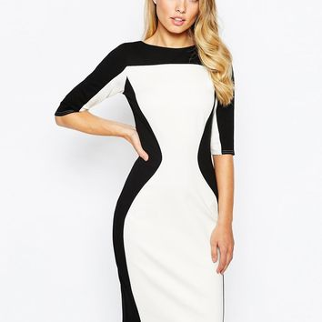 Closet | Closet Color Block Pencil Dress at ASOS