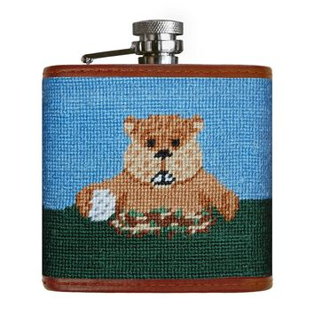 Caddyshack Needlepoint Flask in Blue and Green by Smathers & Branson