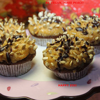 Vegan Gluten Free Mini baby chocolate cakes with peanut butter frosting and roasted sunflower seeds,wedding,birthday.