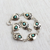 Vintage Sterling Silver Turquoise Blue Bear Paw Bracelet - Retro 1960s Native American Tribal Jewelry / Bear Claw Links