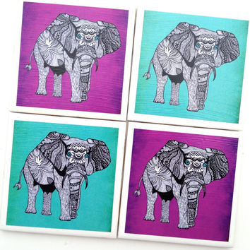 Elephant Coasters, Ceramic Tile Set, Drink Coaster, Elephant Decor, Elephant Decoration, Tribal Elephant Turquoise, Pamela Gallegos