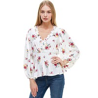 Ditsy Floral Ruffle Trim Smocked Waist Blouse