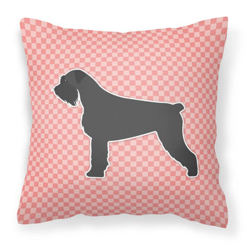 Giant Schnauzer Checkerboard Pink Fabric Decorative Pillow BB3673PW1818