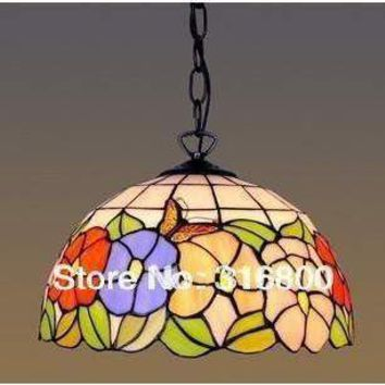 Free shipping 12 inches butterfly flower color chandelier Tiffany Cafe American European style kitchen glass lighting fixtures