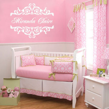 Personalized Vinyl Name Wall Decal - Shabby Chic Floral Border Baby Girl Nursery Toddler Teen Room Wall Art 22H x 28W GN021