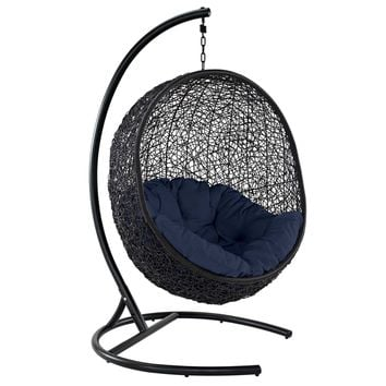 Encase Swing Outdoor Patio Lounge Chair Navy EEI-739-NAV-SET