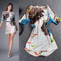Short Sleeve Printed A-Line Silk Mini Dress